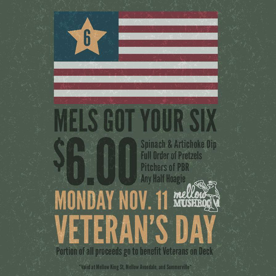 Support Veterans This Monday At Mellow Mushroom Holy City Sinner