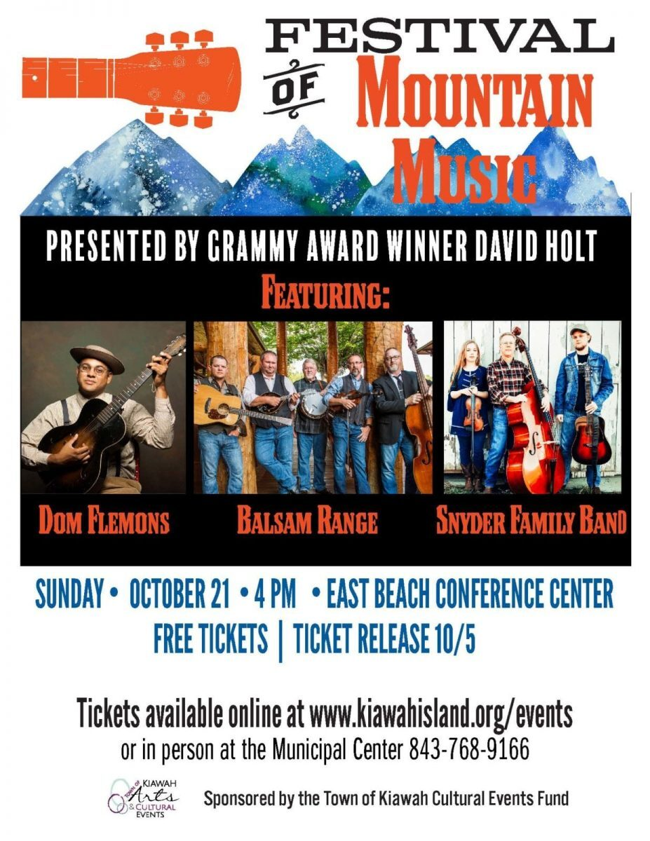 596256271f4 The Festival of Mountain Music will be held on Sunday, October 21st at the  East Beach Conference Center on Kiawah Island. The event will run from 4 pm  to ...